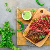 Flank steak on cutting board