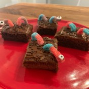 Spooky Halloween Worm Brownies - 4 worm brownies on a red plate