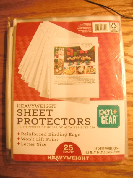 Recipe Book for ThriftyFun Recipes - sheet protectors