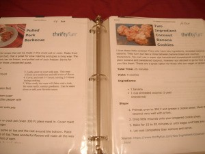 Recipe Book for ThriftyFun Recipes - three ring binder displaying two recipe pages