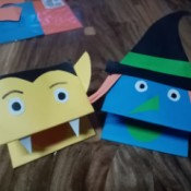 Halloween Hand Puppet - a witch and a vampire paper hand puppet