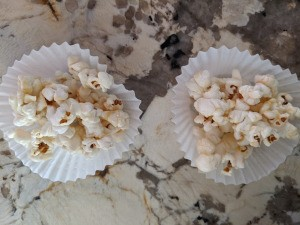 Honey Coconut Popcorn in paper cups