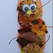 Kid's Fall Owl Decor Craft - finished owl with eyes, beak, and feet glued in place