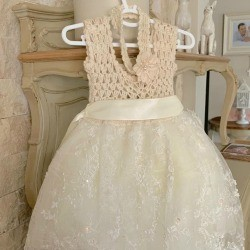 A crocheted bodice dress for a young girl.