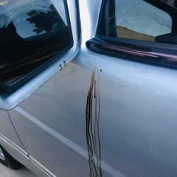 Removing a Stain on a Car's Exterior - black streaks on car door