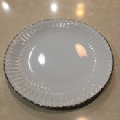 Finding the Value of Rose Delisle  China - white dinner plate with silver around scalloped edge