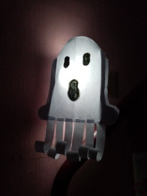 Ghost Night Light - finished night light plugged in