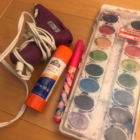 Hot Glue & Watercolor Anniversary Card - supplies