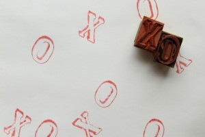 Rubber stamps with red ink.
