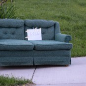 A free couch left on the curb.