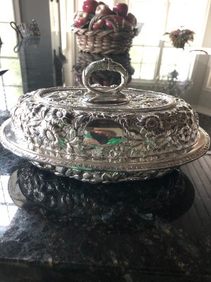 Information on Justis and Armiger Silver Plate Covered Dish - ornate silver dish with floral pattern