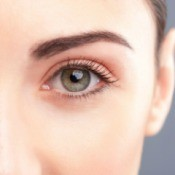 A woman's made up eyelid and brow.