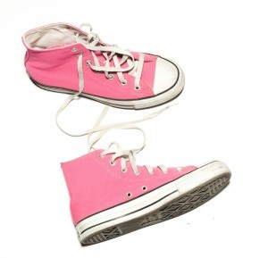 A pair of pink Converse high tops.
