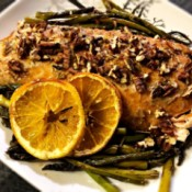 Spiced Maple Pecan Salmon on plate