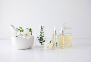 Beauty products in glass bottles.