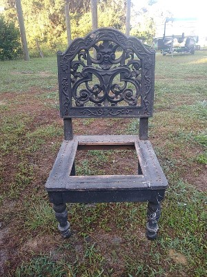 Identifying an Old Chair - old chair with ornate back and perhaps originally had a caned seat