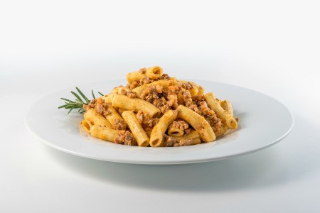 A macaroni dish with a hearty meat sauce.