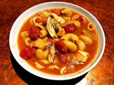 Roast Chicken and Tomato Noodle Soup in bowl
