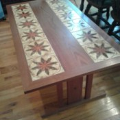 Value of a Teak Table - low table with tiles along the long sides and wood in the middle and around the edges