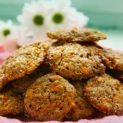 A plate of homemade carrot cookies.