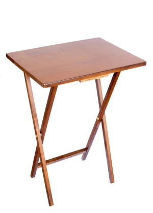 A folding TV tray table on a white background.