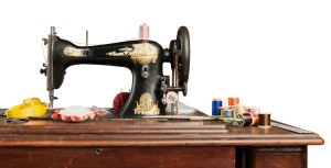 A vintage Singer sewing machine.