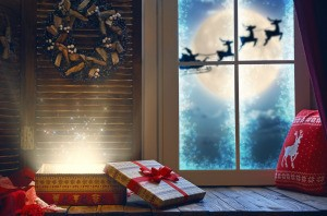Santa in the window at Christmastime.
