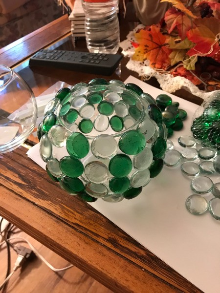 Christmas Lighted Bowl  - bowl with the gems glues on