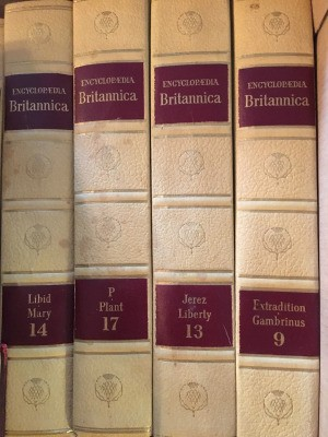 Value of Encyclopedia Britannica - spines of several volumes