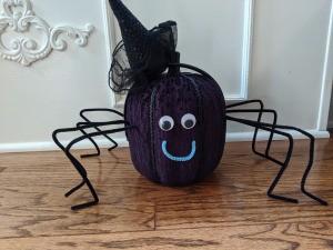 Witch Spider Pumpkin Home Decor - spider wearing a witch hat headband