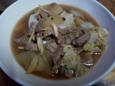 Sweet Beef and Vegetable Soup in bowl