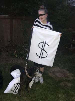 Easy Burglar Costume - burglar and her dog