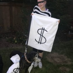 Easy Burglar Costume  - burglar and her dog