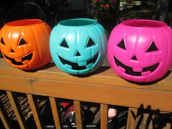 Stone Looking Pumpkin Planters - three plastic Halloween pumpkins