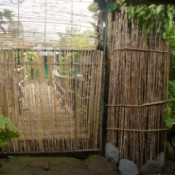Bamboo Garden Gate - bamboo covered metal garden gate