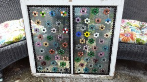 Decorating Old Windows - recycled window decorated with glass gem flowers