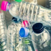 A collection of empty recycled plastic bottles.