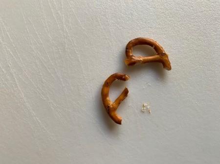 Halloween Spider Donuts - cut pretzel