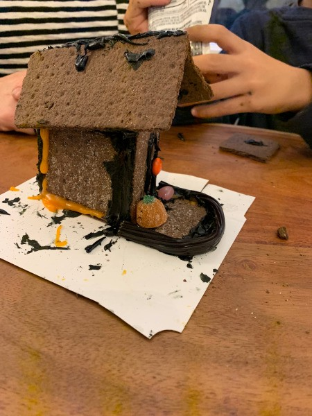Haunted Gingerbread House - side view showing slanted roof on graham cracker house