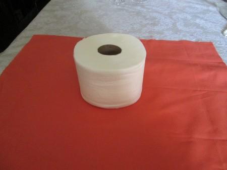 No Sew No Glue Fabric Pumpkin - tissue roll in the center of fabric square