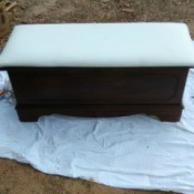 Information on a Lane Cedar Chest - dark wood chest with white padded top