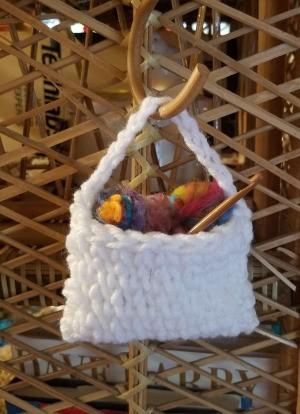 Mini Yarn Bag - bag hanging on a hook