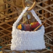 Mini Yarn Bag - bag hanging on a hook