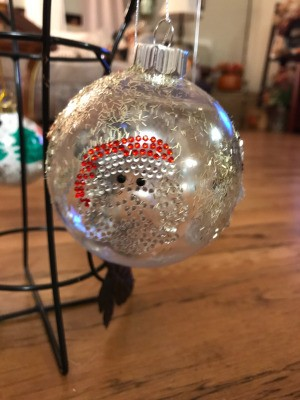 Decorated Clear and White Ornaments - clear ornament with a Santa sticker