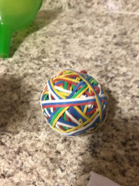 Sock Snowman - ball of rubber bands