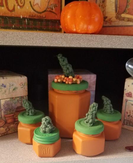 Pumpkin Jars - array of jars sitting on a shelf