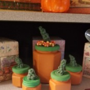Pumpkin Jars - array of jars sitting on a shelf