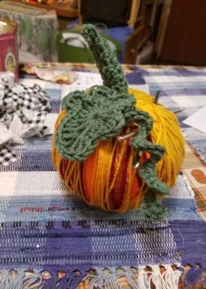 Yarn Covered Pumpkin - pumpkin with stem, leaf, and vine