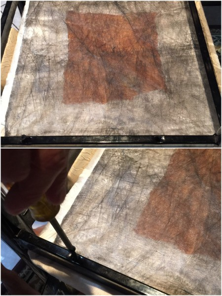 Tablecloth for Reupholstering a Chair - removing the original screws holding the seat onto the chair frame