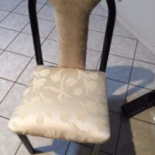 Tablecloth for Reupholstering a Chair - chair with reupholstered seat